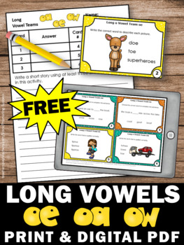 FREE Long O Vowel Teams Activities, Long Vowel Sounds, Long Vowel Task Cards