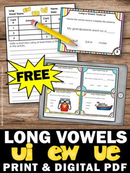 FREE Long u Vowel Teams Activities, ew ue ui Long Vowel Sounds Task Cards