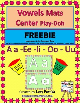 Vowels Mat centers Play Doh English -Spanish Bilingual Stars Mrs Partida
