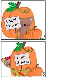 Long and Short Vowels - Pumpkin Theme
