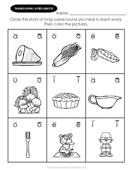 Vowels THANKSGIVING Worksheets