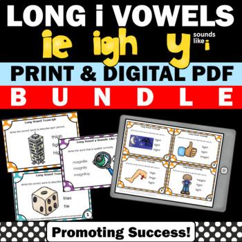 Long i ie igh Activities y sounds like i BUNDLE of Vowel Team Task Cards