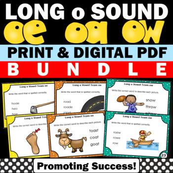 Long o Vowels Teams Bundle of Phonics Task Cards Games & A