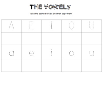 Vowels Tracing Worksheet