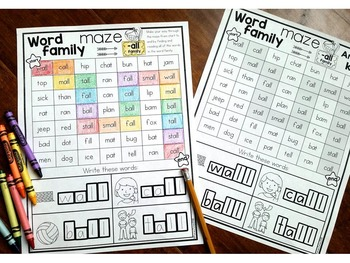 Vowels & Word Families {Word Family Mazes}