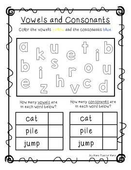Vowels and Consonants Activity Sheet