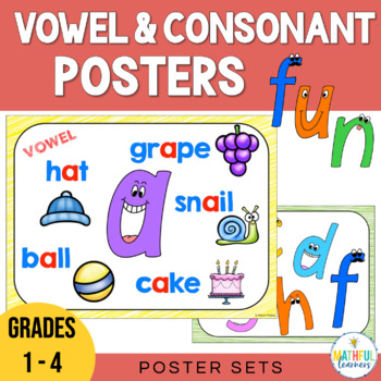 vowels and consonants posters by alison hislop tpt