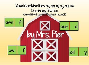 Vowel Dominoes ou, ow, oi, oy, au, aw Compatible w/ Journeys 1st Grade Lesson 25
