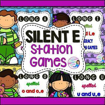 Vowels with Silent E Station Games BUNDLE