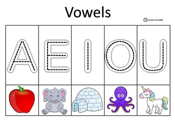 Vowels with fixed pictures