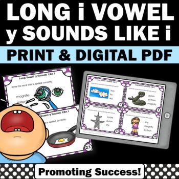 i Spelled Like y, Long Vowel Task Cards, Phonics Centers, ESL Games SCOOT