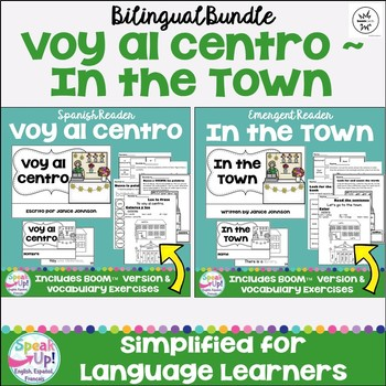 Voy al centro /In the Town Readers & Paperless BOOM™ versions {Bilingual}