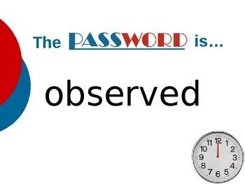 Voyage Across the Solar System- Vocabulary Password