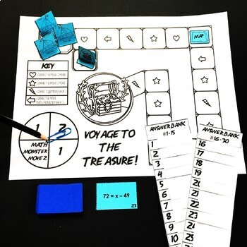 Voyage to the Treasure! 1-Step Equations Game (NO NEGATIVE ANSWERS)