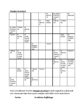 Voyager en avion (Plane travel in French) Sudoku