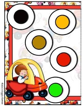 Vroom Vroom Colors File Folder Game
