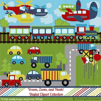 Vroom, Zoom and Honk Digital clip art Clipart Collection