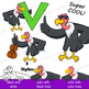 Vulture Clip Art with Signs - Letter V in Alphabet Animal Series