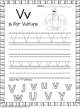 """Vulture and Letter """"V"""" Crafts and Letter Practice Pages"""