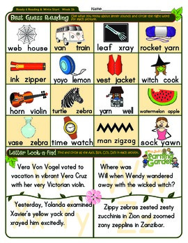 Vv, Ww, Xx, Yy & Zz Worksheet 2