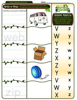 Vv, Ww, Xx, Yy & Zz Worksheet 4