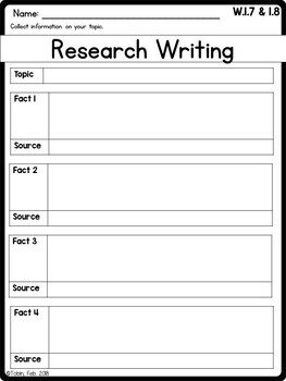 W.1.7 and W.1.8- Research Writing 1st Grade