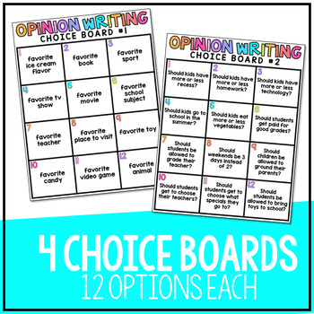 W.3.1 - Opinion Writing Choice Boards!