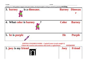 W. 6.3  Revising Writing Work Sample Sheets for low ability students