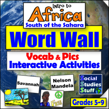 Africa South of the Sahara Word Wall and Game/Activity Ideas
