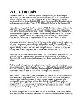 W.E.B. Du Bois Biography and Assignment