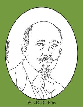 W.E.B. Du Bois Clip Art, Coloring Page or Mini Poster