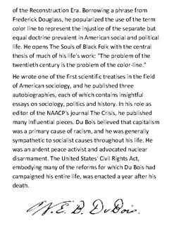 W. E. B. Du Bois Handout