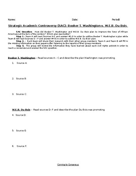 DuBois and Booker T. - Strategic Academic Controversy (SAC) Group Activity