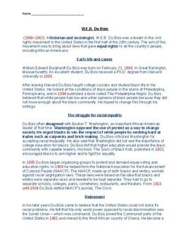 W.E.B. Dubois Article and Timeline Worksheet