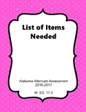 W ES 11.3 List of Items Needed AAA Extended Standard