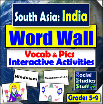 South Asia Word Wall and Game/Activity Ideas (30 words)