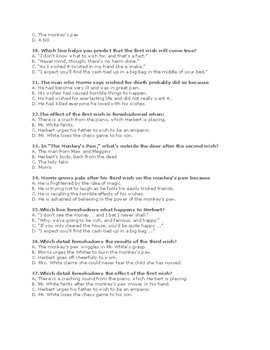 """W.W. Jacobs' """"The Monkey's Paw"""" Quiz 60 Mult. Choice Ques w/ Answer Key)"""