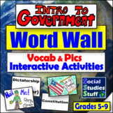 Types of Government Word Wall with Activity Ideas - 20 Vocab Words & Pics