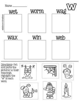 Letter W: Picture Sort