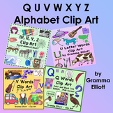 W X Y Z Wh Clip Art Initial Sounds - Realistic - Beginning