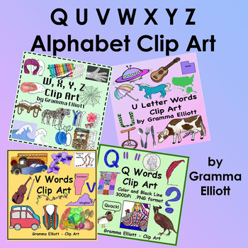 Q U V W X Y Z Wh Clip Art Initial Sounds Realistic Beginning Sound Phonics