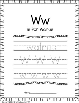 """W"" is for Walrus Craft and Letter Tracing"