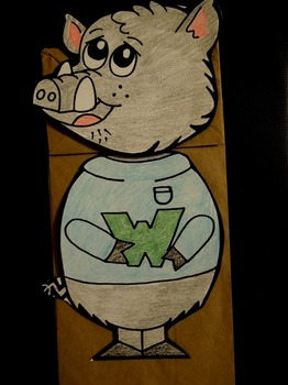 W is for Warthog paper bag puppet