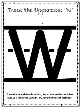 W is for Water.  To use with My Father's World.  Alphabet Worksheets.