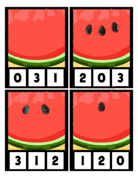 W is for Watermelon Counting to 20 Clip Cards Math Center for Preschool