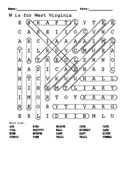 W is for West Virginia word search answer key