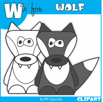 W is for Wolf Clip Art