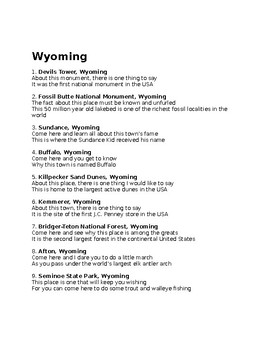 W is for Wyoming state facts