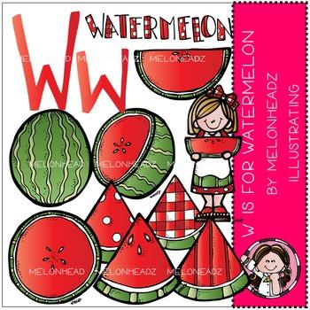 W is for watermelon clip art - by Melonheadz