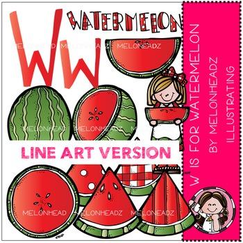 W is for watermelon clip art - LINE ART- by Melonheadz